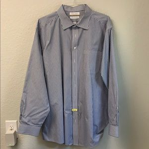 Big & Tall Dress Shirt - Blue Striped Pattern